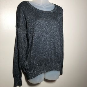 Medium Mossimo Black Silver High Low Sweater Top